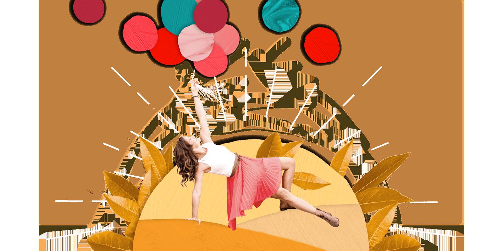 11Nancy in Yoga Pose Collage mit Luftballons